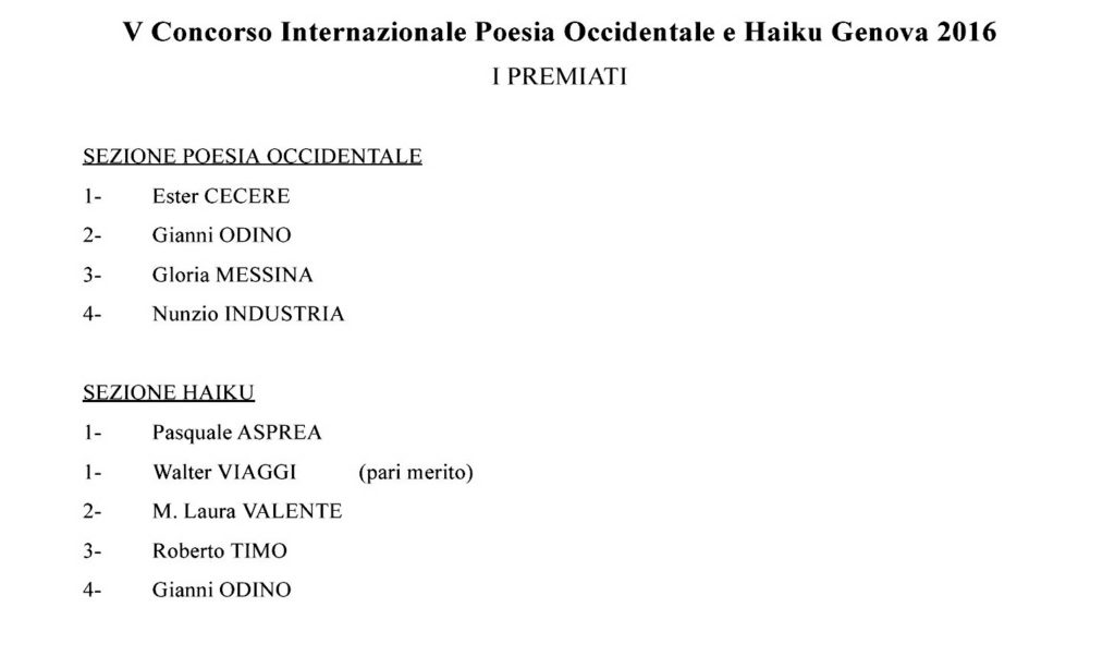 Classifica dei premiati.