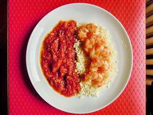 Gamberoni alla provenzale con riso